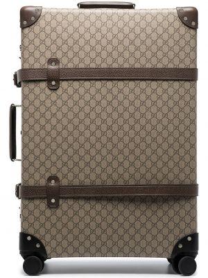 Парусиновый коричневый чемодан с заклепками Gucci