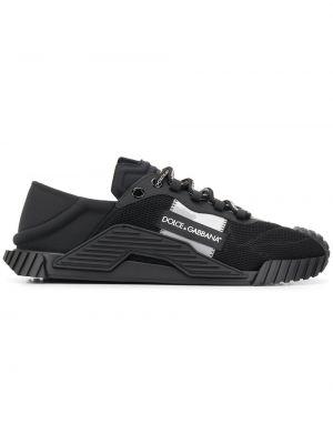Кожаные черные кроссовки сетчатые Dolce & Gabbana