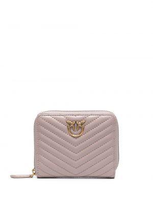 Розовый кожаный кошелек для монет с карманами Pinko