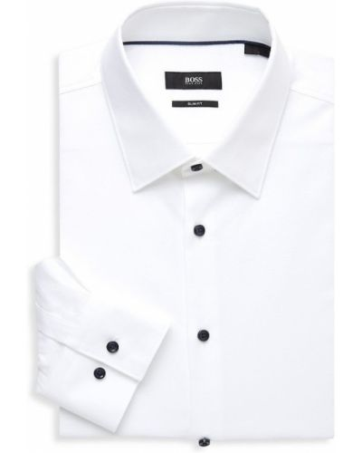Biała sukienka długa z długimi rękawami bawełniana Boss Hugo Boss