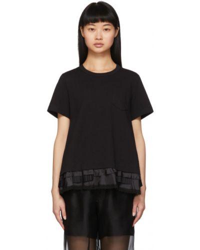 Хлопковая с рукавами черная рубашка Sacai