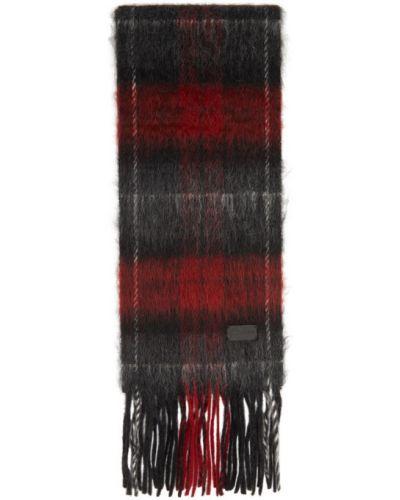 Шерстяной черный шарф с заплатками Saint Laurent