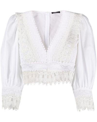 Белая блузка с вышивкой с V-образным вырезом Wandering
