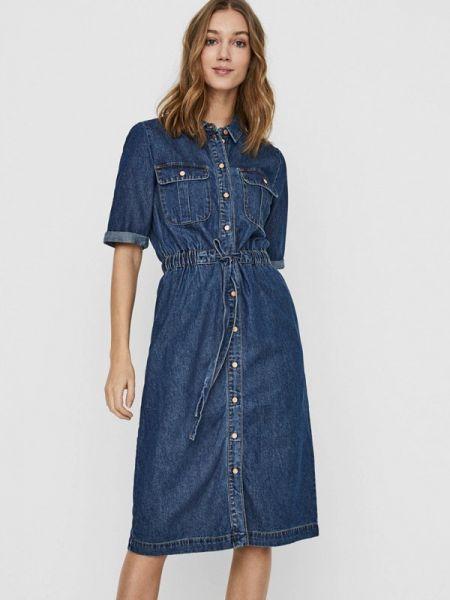 Джинсовое платье синее весеннее Noisy May