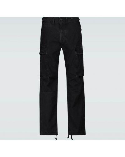 Черные брюки карго с заплатками с карманами оверсайз Rrl