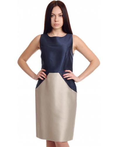 Шелковое платье - синее Oscar De La Renta