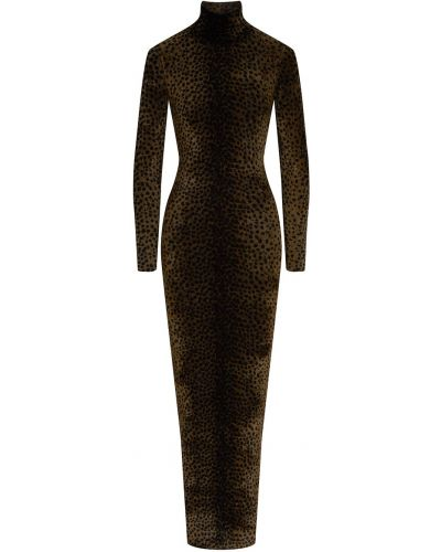 Облегающее платье леопардовое с длинными рукавами Alexander Wang