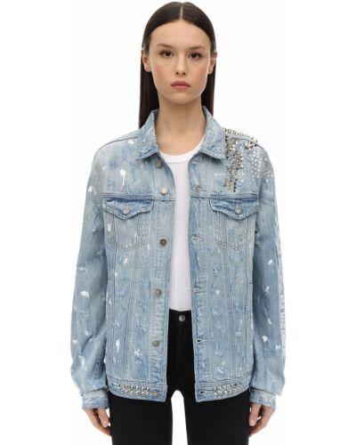 Ватная синяя джинсовая куртка с шипами Domrebel