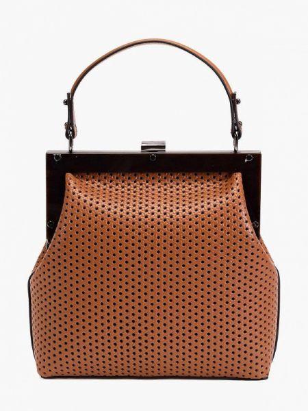Коричневая кожаная сумка из натуральной кожи Ekonika