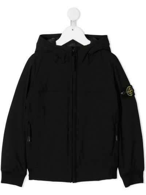 Черная куртка с капюшоном с заплатками Stone Island Junior