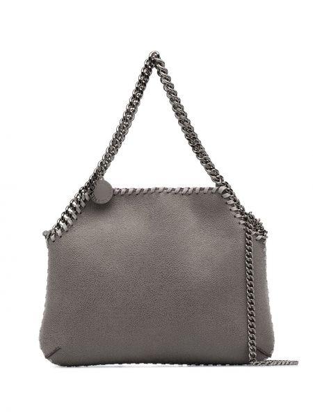 Серая с ремешком брендовая сумка на цепочке Stella Mccartney