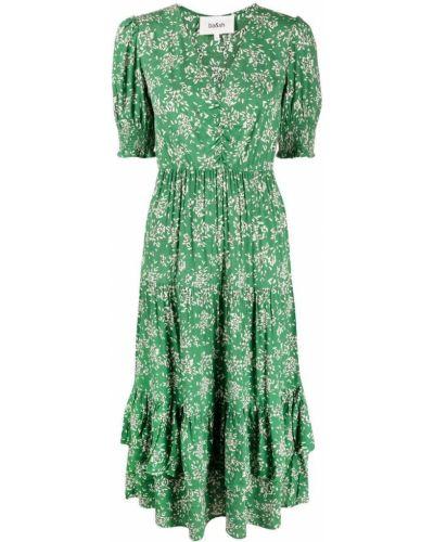 Платье с запахом - зеленое Ba&sh