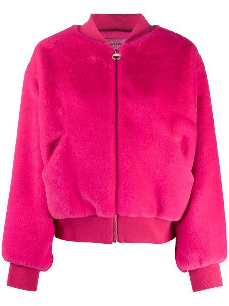 Розовая длинная куртка с вышивкой с воротником с карманами Chiara Ferragni