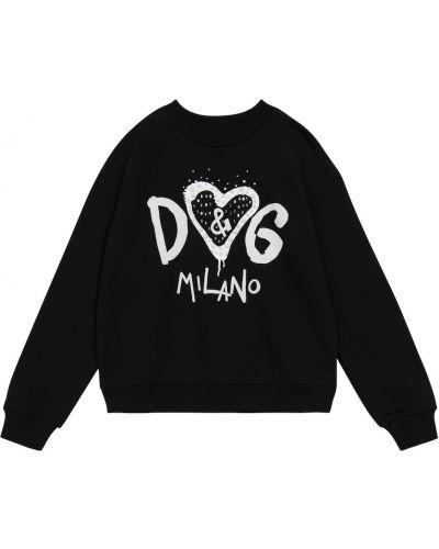 Хлопковый свитшот - черный Dolce & Gabbana Kids