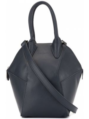 Кожаная синяя кожаная сумка на молнии Discord Yohji Yamamoto