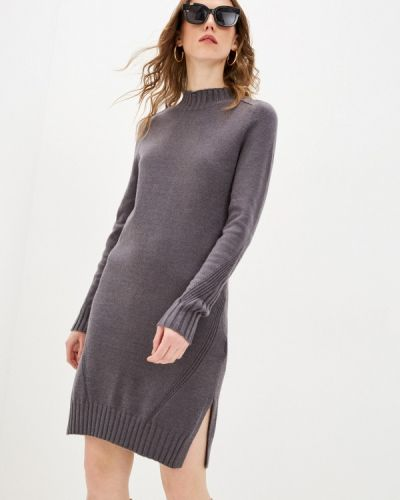 Серое трикотажное вязаное платье Zarina