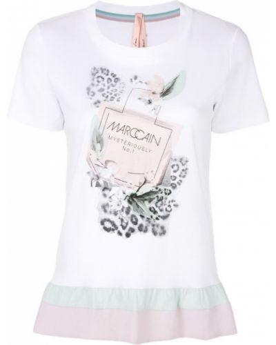 Белая футболка с оборками Marc Cain