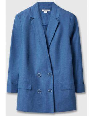 Синий пиджак с воротником на пуговицах двубортный Ostin