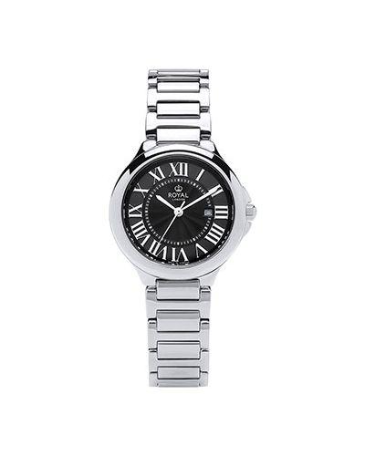 Со стрелками классические черные кварцевые часы круглые Royal London