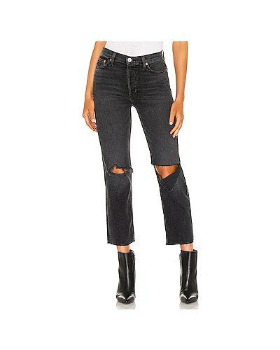 Хлопковые прямые укороченные джинсы с карманами Re/done