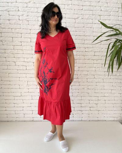 Хлопковое платье миди - красное Eternal Flame