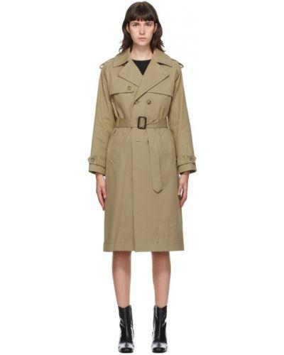 Бежевое длинное пальто с воротником с поясом на пуговицах A.p.c.