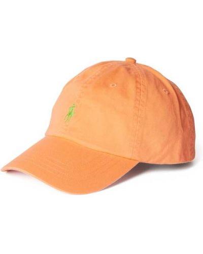 Pomarańczowa czapka z daszkiem bawełniana Polo Ralph Lauren