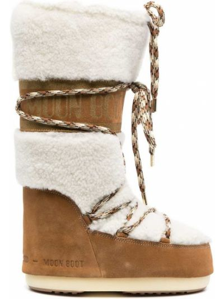 Кожаные сапоги на шнуровке со вставками Moon Boot