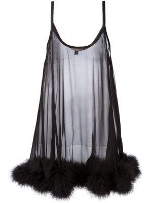 Шелковый черный пеньюар с жемчугом Gilda & Pearl