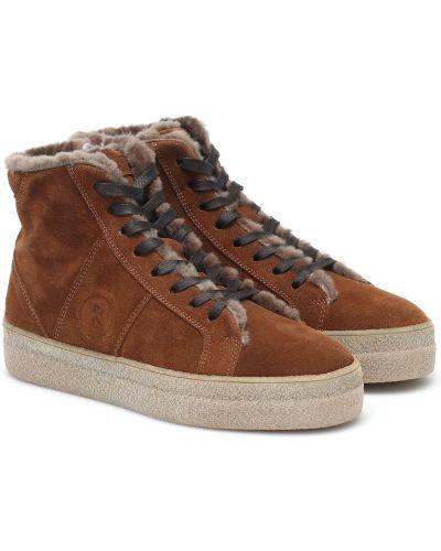Коричневые кожаные кроссовки с подкладкой Bogner