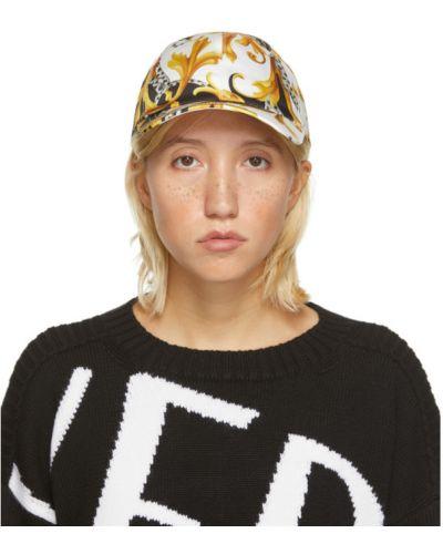 Ватная хлопковая с ремешком белая кепка Versace