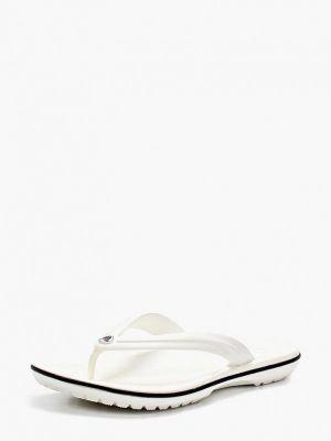 Белые резиновые шлепанцы Crocs