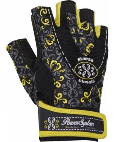 Желтые кожаные перчатки Power System