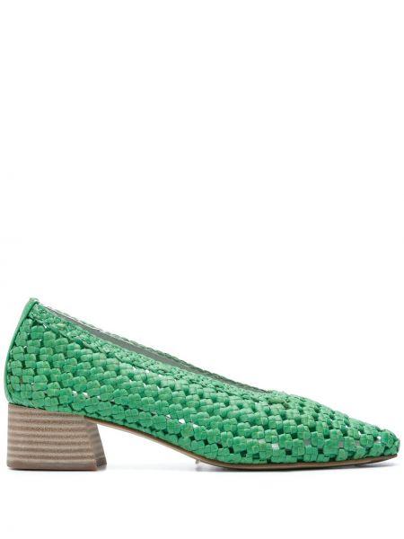 Зеленые туфли-лодочки с квадратным носком квадратные из натуральной кожи Miista