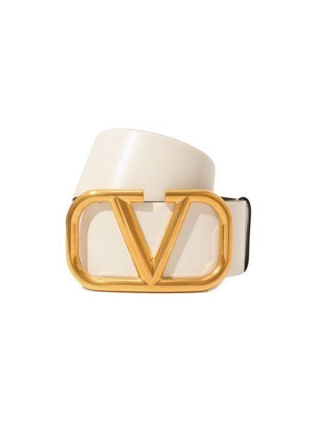 Кожаный белый ремень Valentino