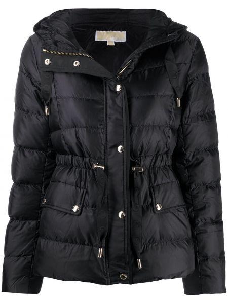 Пуховая черная куртка с капюшоном с карманами с перьями Michael Michael Kors