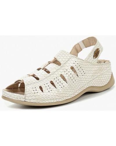 Босоножки на каблуке белые кожаные Shoiberg