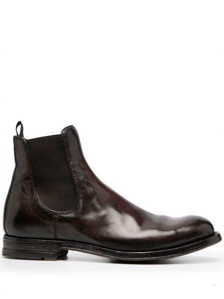 Skórzany brązowy buty na pięcie okrągły na pięcie Officine Creative