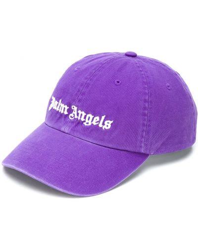 Fioletowa czapka z haftem bawełniana Palm Angels