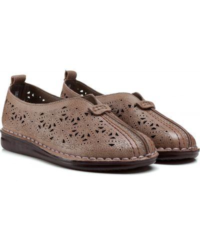 Кожаные балетки - коричневые Meego Comfort