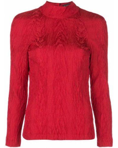 Блузка с длинным рукавом с воротником-стойкой красная Alexa Chung