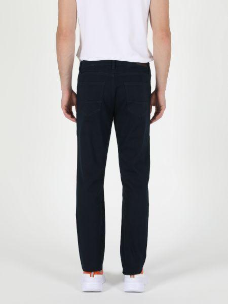 Хлопковые синие классические брюки на молнии Colin's