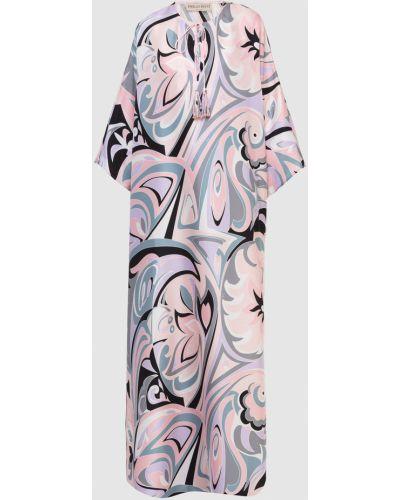 Шелковое розовое платье макси Emilio Pucci