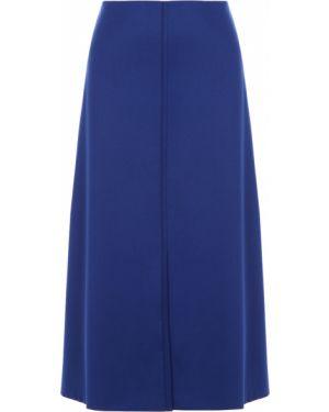 Шерстяная юбка миди - синяя Hugo Boss