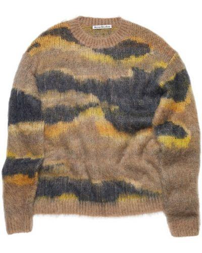 Beżowy sweter moherowy z długimi rękawami Acne Studios