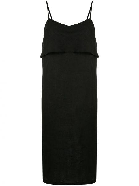 Драповое приталенное платье миди с открытой спиной на бретелях Venroy