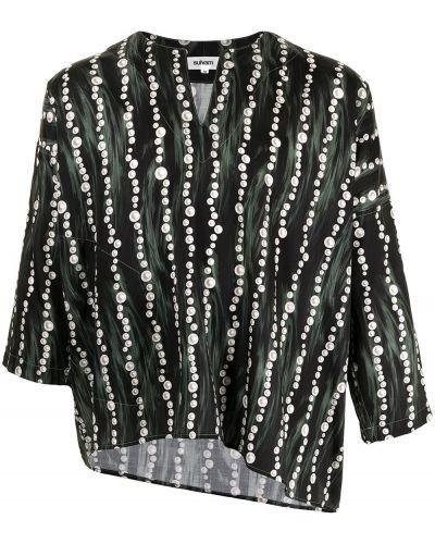 Czarna koszula bawełniana asymetryczna Sulvam