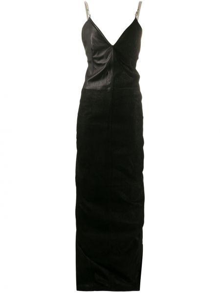 Czarny z paskiem długo sukienka na paskach z falbankami Rick Owens