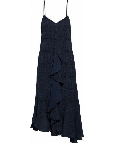 Satynowa sukienka midi asymetryczna Victoria Beckham