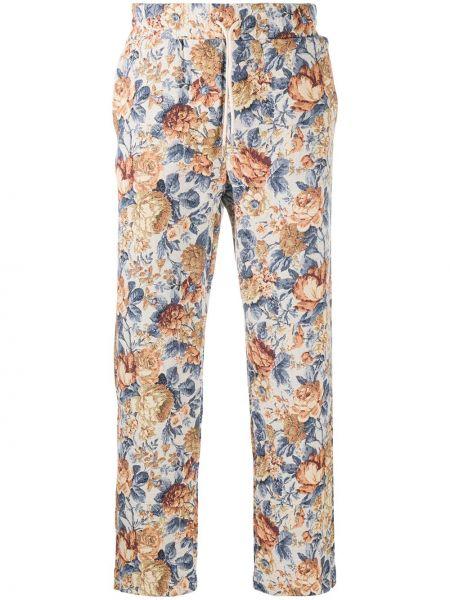 Beżowe spodnie bawełniane z haftem Drole De Monsieur